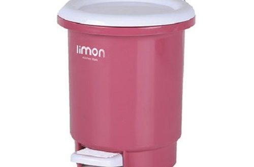 سطل زباله پلاستیکی درب دار لیمون